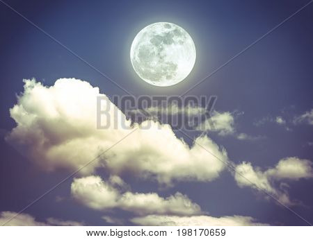 Night Sky With Bright Full Moon, Serenity Nature Background.