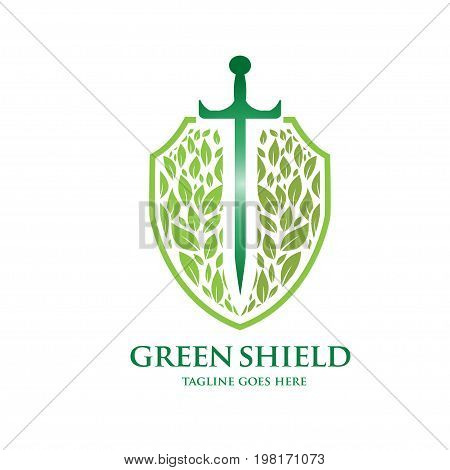green shield, creative sword , green leaf and shield logo vector, shield health logo vector