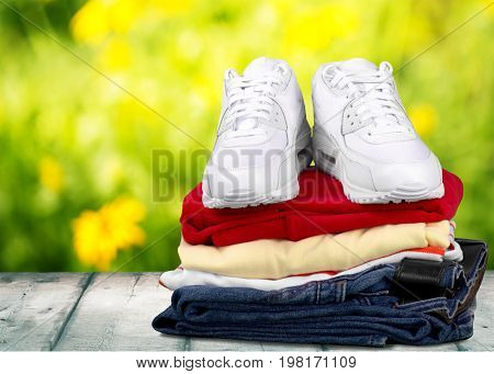 White stack cloth clothes sneakers green color