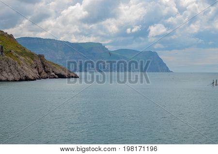 Landscape of the Sevastopol bay of the Black Sea of the Republic of Crimea. 2017 year
