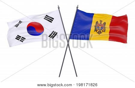 Republic of Korea and Moldova, two crossed flags isolated on white background. 3d image