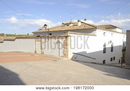 White house in Belmonte a village located in the province of Cuenca Castile-La Mancha Spain.