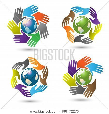 Hands surrounding earth vector, hands color social with globe earth inside logo