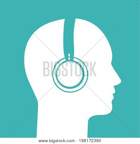 Head profile with headphones. Human head. Vector stock.