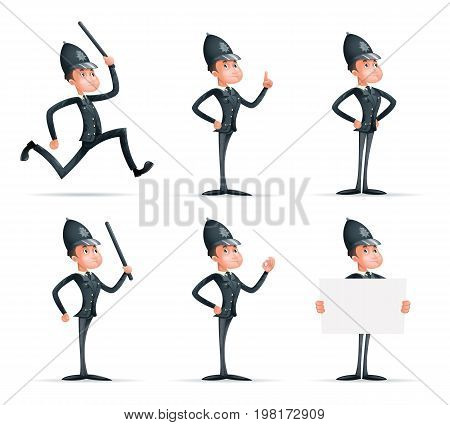 Police Officer Man Uniform Cop Order Policeman Law 3d Security Protection Cartoon Mascot Character Isolated Icons Set Design Vector Illustrator