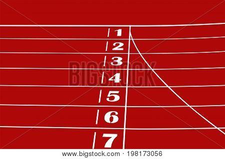 finish line red running track stadium sprint