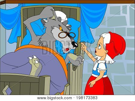 Little Red Riding Hood and Wolf in the house