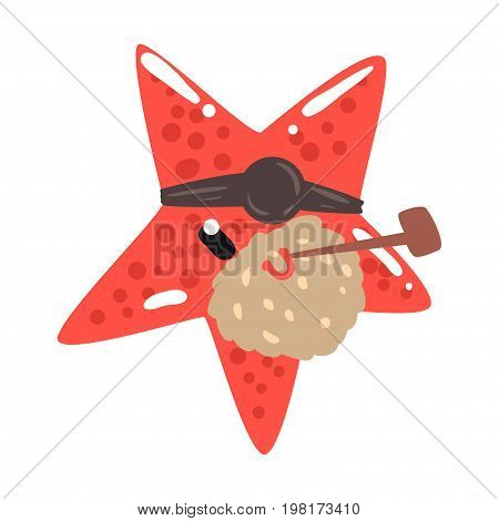 Funny cartoon red starfish pirate with an eye patch smoking pipe colorful character vector Illustration on a white background