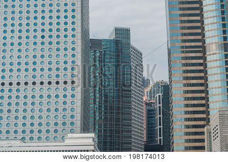 Hong Kong - May, 25, 2017 Toned Image Of Modern Office Buildings In Central Hong Kong