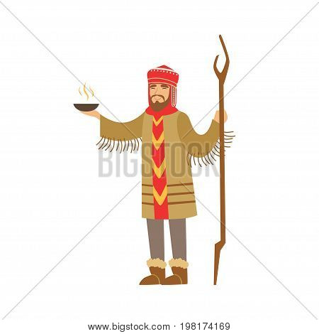 Shaman character in national clothes performing ritual offerings to the gods vector Illustration on a white background