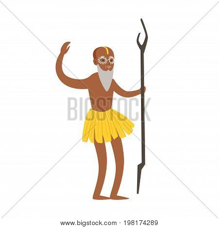 Indian shaman character in a loincloth performing authentic ritual vector Illustration on a white background