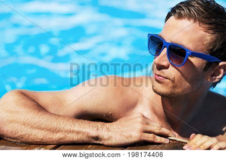 Blue water man relax pool person young