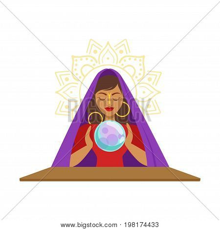 Fortune teller watching crystal ball, occult ritual vector Illustration on a white background