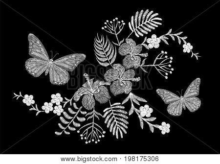 Butterfly tropical embroidery flower arrangement. Exotic palm plant blossom summer jungle. Fashion print textile patch. Hawaii hibiscus plumeria vector illustration art