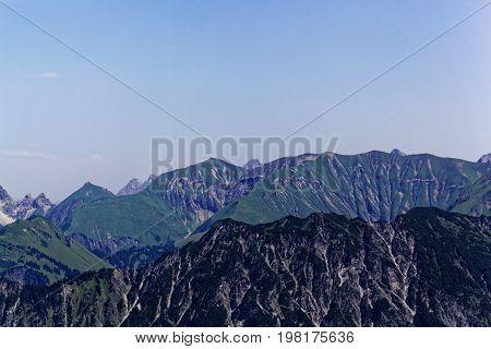 Mountain range in the Allgäu Alps in Bavaria in Germany.
