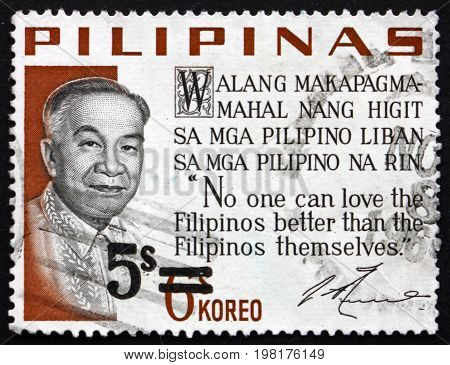 PHILIPPINES - CIRCA 1968: a stamp printed in Philippines shows Jose P. Laurel Filipino Politician and Judge was the President of the Second Philippine Republic circa 1968