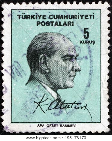 TURKEY - CIRCA 1965: a stamp printed in the Turkey shows Mustafa Kemal Ataturk the First President of Turkey Father of the Turks circa 1965