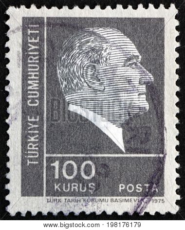 TURKEY - CIRCA 1975: a stamp printed in the Turkey shows Mustafa Kemal Ataturk the First President of Turkey Father of the Turks circa 1975