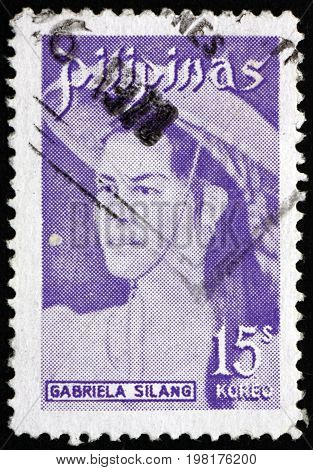 PHILIPPINES - CIRCA 1974: a stamp printed in Philippines shows Gabriela Silang Filipino Revolutionary Leader Fighter against Spanish Rule circa 1974