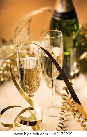 Delicious champagne glasses bar background ribbon golden