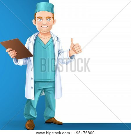 Cute Doctor In Surgical Suit And White Lab Coat Holding A Medical History And Showing Gesture That E