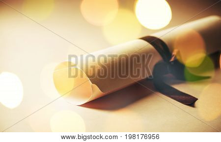 Ribbon diploma rolled up legal document college degree masters degree concepts and ideas