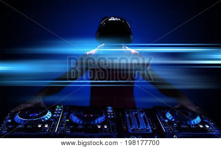 Young headphones dj nightlife entertainment concepts equipment