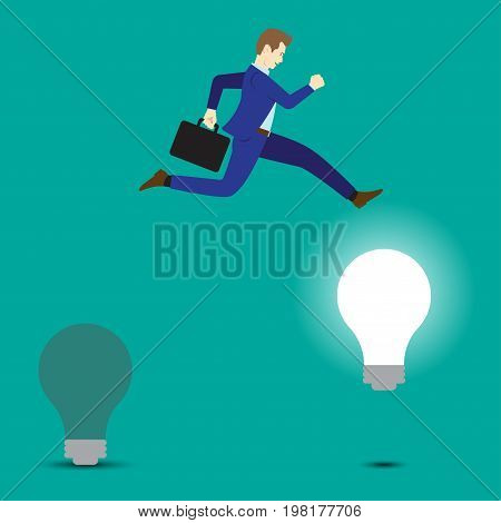 Business Concept As A Businessman Is Highly Jumping Up From A Dark Light Bulb To A Bright One. It Means Changing From Old Idea To The New One Including Creativity Innovation And Improvement.