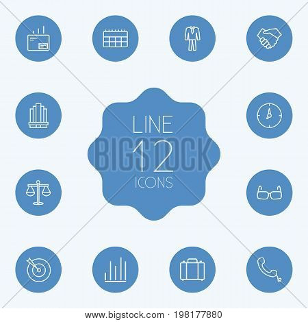 Collection Of Handset, Handshake, Suit Elements.  Set Of 12 Trade Outline Icons Set.