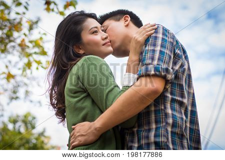 Close Up Young Man Kiss Young Woman.