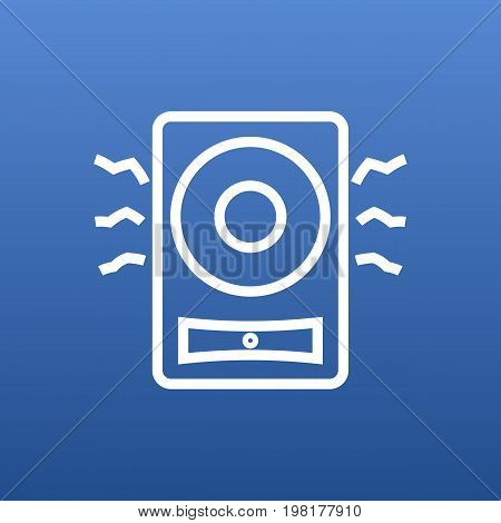 Vector Amplifier  Element In Trendy Style.  Isolated Loudspeaker Outline Symbol On Clean Background.