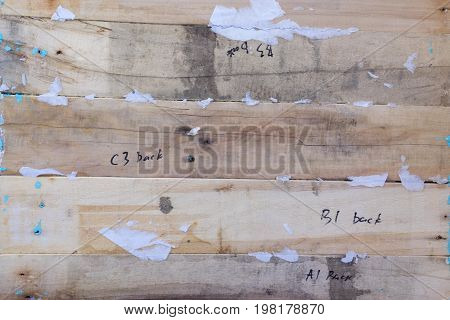 Wooden background. Texture, the surface of the old boards from natural wood with words and numbers. Construction concept. Processing, semi-finished product. The top glance. Close-up. The stock photos.
