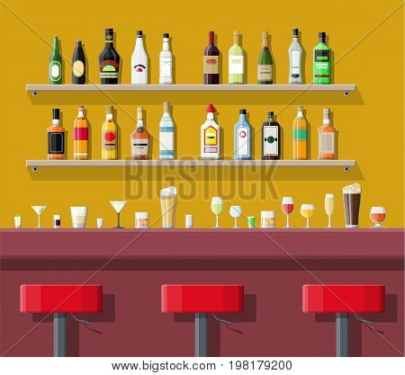 Drinking establishment. Interior of pub, cafe or bar. Bar counter, chairs and shelves with alcohol bottles. Glasses and lamp. Vector illustration in flat style.