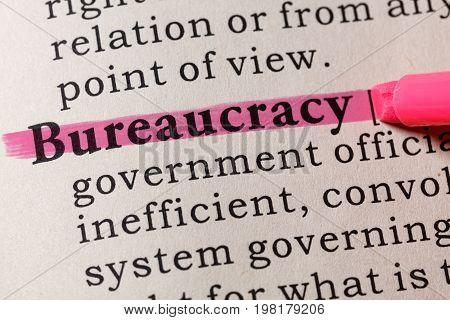 Fake Dictionary Dictionary definition of the word bureaucracy. including key descriptive words.