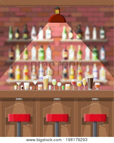 Drinking establishment. Interior of pub, cafe or bar. Bar counter, chairs and shelves with alcohol bottles. Glasses, lamp. Wooden and brick decor. Blurred backgroun. Vector illustration in flat style