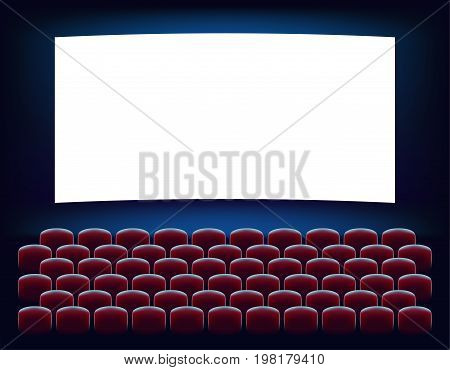 Cinema hall. Empty cinema screen with auditorium. A cinema with a large screen and a lot of red chairs