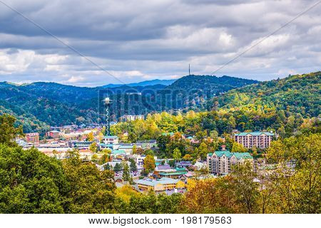 Gatlinburg, Tennessee, USA town skyline in the Smoky Mountains.