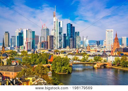 Frankfurt am Main, Germany skyline.
