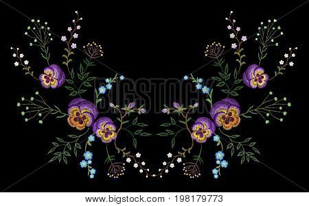 Embroidery pancies floral reflection small branches wild herb with little blue violet field flower. Ornate traditional folk fashion patch design neckline black vector illustration art