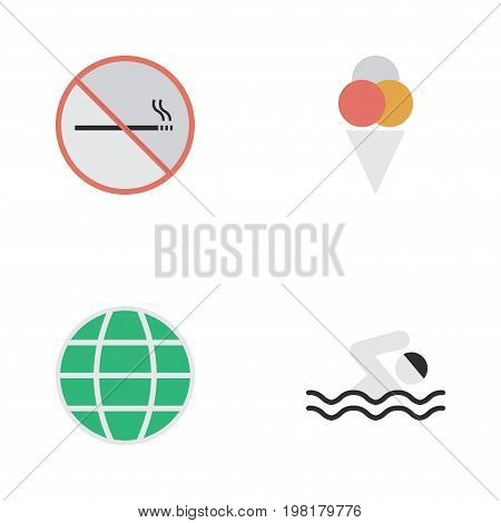 Elements Sorbet, World, Pool And Other Synonyms Smoking, Globe And Planet.  Vector Illustration Set Of Simple Travel Icons.