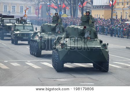 SAINT-PETERSBURG, RUSSIA - MAY 09, 2017: Self-propelled artillery guns