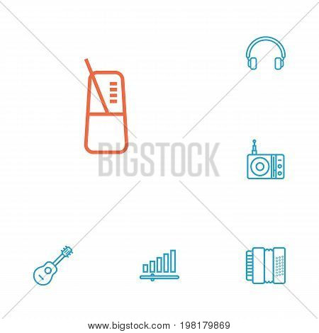 Collection Of Station, Headphones, Pace And Other Elements.  Set Of 6 Melody Outline Icons Set.