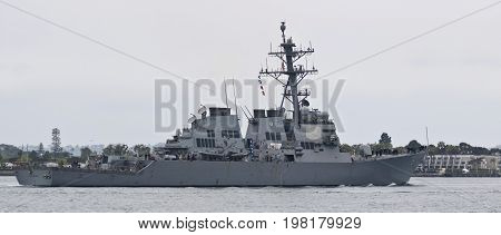 SAN DIEGO, CALIFORNIA, JUNE 7. Naval Base San Diego on June 7, 2017, in San Diego, California. A United States Navy Destroyer USS Higgins Naval Base San Diego in San Diego in California.