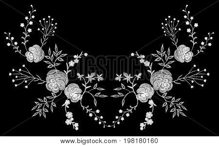Embroidery white lace pancies floral reflection small branches wild herb with little blue violet field flower traditional folk fashion patch design neckline black background vector illustration art.