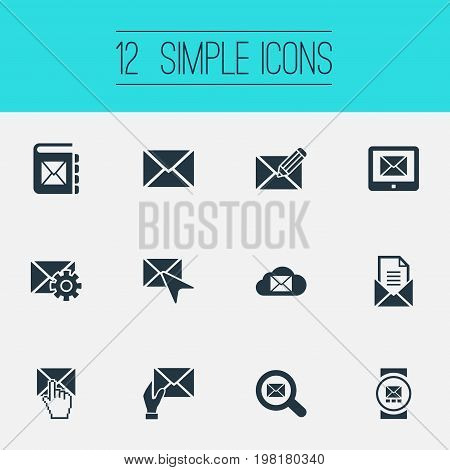 Elements Seek, Post Office, Tuning And Other Synonyms Address, Storage And Push.  Vector Illustration Set Of Simple Communication Icons.