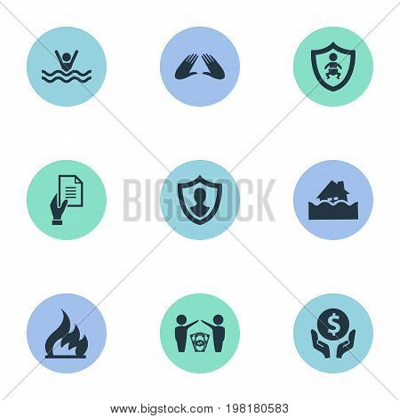 Elements Hand, Protect Currency, Agreement Synonyms Human, Ignition And Torrent.  Vector Illustration Set Of Simple Safeguard Icons.