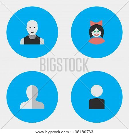 Elements Profile, Man, Avatar And Other Synonyms Woman, Boy And Male.  Vector Illustration Set Of Simple Profile Icons.