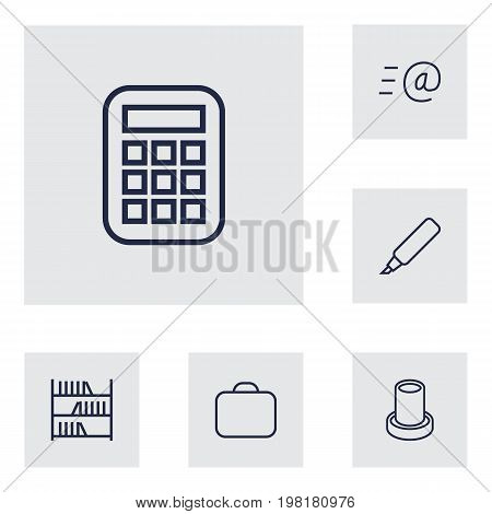 Collection Of Email, Marker, Pencil And Other Elements.  Set Of 6 Bureau Outline Icons Set.