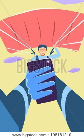 Taking Photo on Smart Phone. Vector Illustration. Selfie photos for social networks media. Concept modern life with selfie photo
