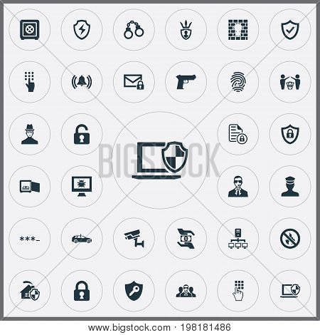 Elements Dollar, Entering Password, Siren And Other Synonyms Pistol, Unsafe And Surveillance.  Vector Illustration Set Of Simple Secure Icons.